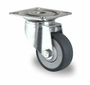 zwenkwiel-met-plaatbevestiging-50-mm-D04 - Zwenkwiel met plaatbevestiging (D04) Ø 50 mm met rem